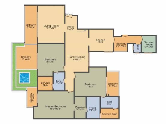 Prateek Edifice (3BHK+3T (2,500 sq ft) + Servant Room Apartment 2500 sq ft)