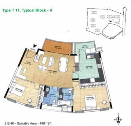 ETA The Gardens (2BHK+2T (1,481 sq ft) Apartment 1481 sq ft)