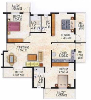 Devashri Splendor (3BHK+3T (1,550 sq ft) Apartment 1550 sq ft)