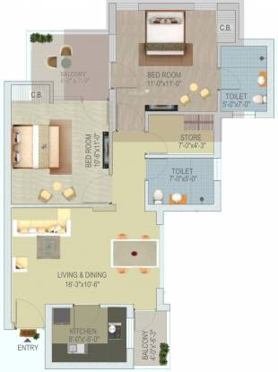 Stellar Jeevan (2BHK+2T (1,027 sq ft) Apartment 1027 sq ft)