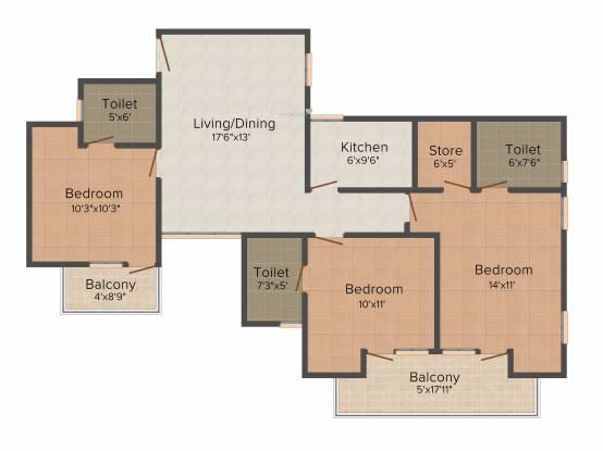 Stellar Jeevan (3BHK+3T (1,441 sq ft) Apartment 1441 sq ft)