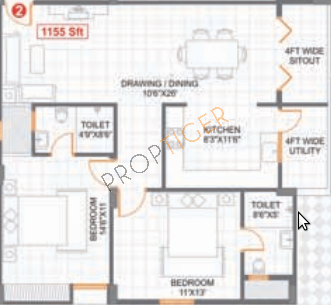 Saroj Cosmos (2BHK+2T (1,155 sq ft) Apartment 1155 sq ft)