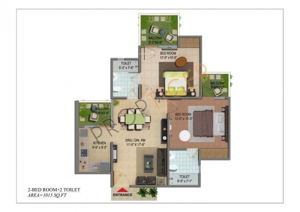 Cosmos Shivalik Homes (2BHK+2T (1,015 sq ft) + Study Room Apartment 1015 sq ft)