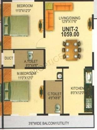 Nishitas Srishanta (2BHK+2T (1,059 sq ft) Apartment 1059 sq ft)