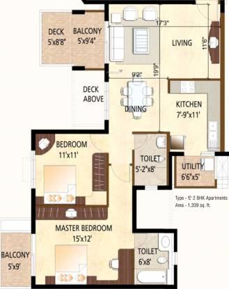 Puravankara Highland (2BHK+2T (1,339 sq ft) Apartment 1339 sq ft)
