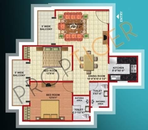 Mahagun Mascot (2BHK+2T (1,080 sq ft) Apartment 1080 sq ft)