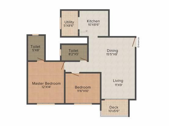 Hiranandani Crossgate (2BHK+2T (1,190 sq ft) Apartment 1190 sq ft)