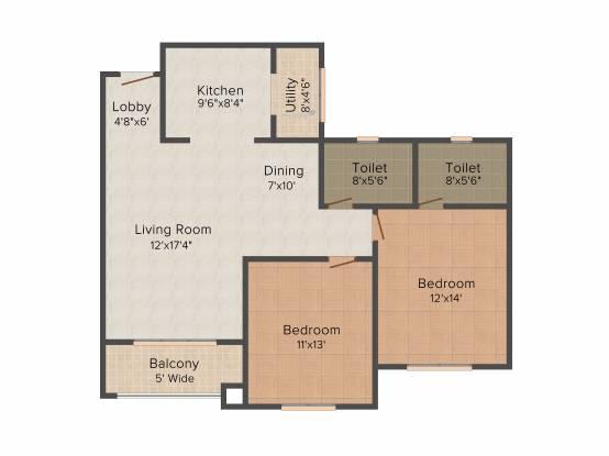 Brigade Altamont (2BHK+2T (1,260 sq ft) Apartment 1260 sq ft)