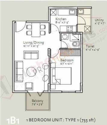 Bearys Anugraha (1BHK+1T (735 sq ft) Apartment 735 sq ft)