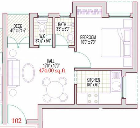Harmony Bluemoon (1BHK+1T (474 sq ft) Apartment 474 sq ft)