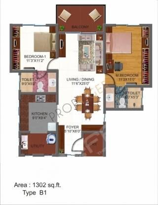 Vigneshwara Cedar Woods (2BHK+2T (1,302 sq ft) Apartment 1302 sq ft)