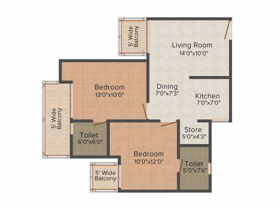 Gaursons 12th Avenue (2BHK+2T (1,055 sq ft) Apartment 1055 sq ft)