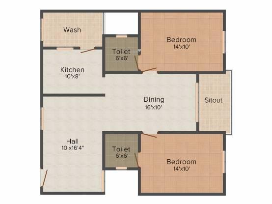 Vijaya Oracle Gardens (2BHK+2T (1,160 sq ft) Apartment 1160 sq ft)