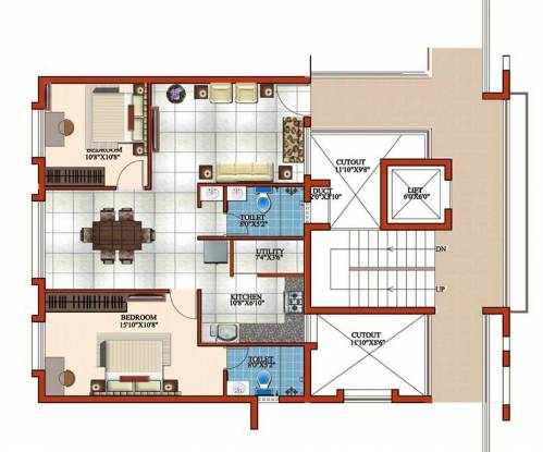 Windsor Four Seasons (2BHK+2T (1,099 sq ft) Apartment 1099 sq ft)