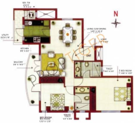 MRG Aahika (2BHK+2T (1,490 sq ft) Apartment 1490 sq ft)