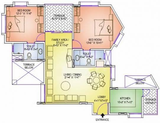 Geras Emerald City (2BHK+2T (1,167 sq ft) Apartment 1167 sq ft)