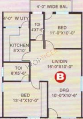 SMR SMR Vinay Regency (2BHK+2T (1,015 sq ft) Apartment 1015 sq ft)