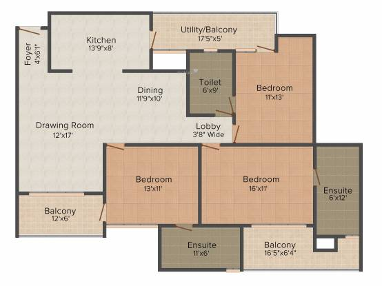 Cleo County (3BHK+3T (1,827 sq ft) Apartment 1827 sq ft)