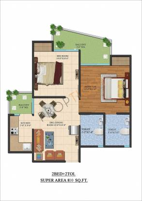 Ajnara Le Garden (2BHK+2T (810 sq ft) Apartment 810 sq ft)