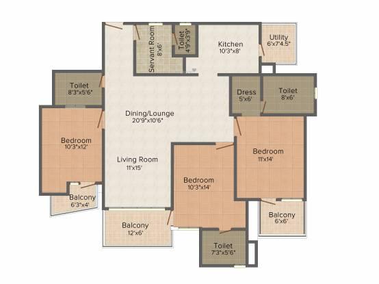 Mapsko Casa Bella (3BHK+3T (1,960 sq ft)   Servant Room Apartment 1960 sq ft)