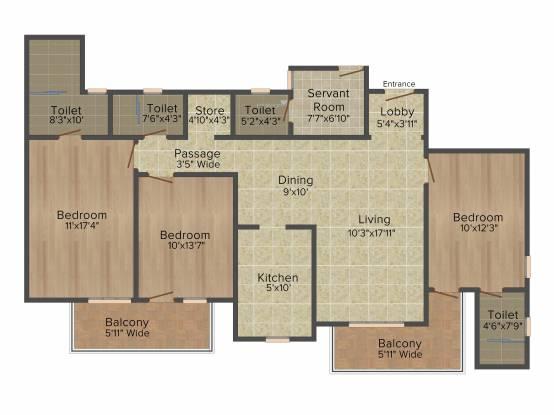 DLF Express Greens (3BHK+4T (1,845 sq ft) + Servant Room Apartment 1845 sq ft)