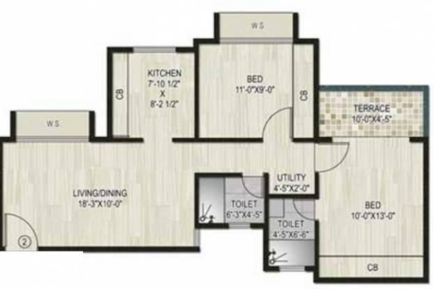 Neelsidhi Atlantis (2BHK+2T (955 sq ft) Apartment 955 sq ft)