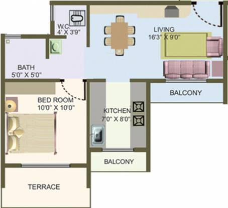 Nisarg Hyde Park (1BHK+1T (670 sq ft) Apartment 670 sq ft)