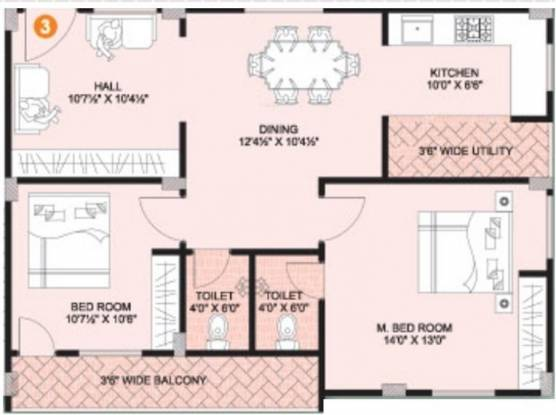 Vijay Comfort (2BHK+2T (1,080 sq ft) Apartment 1080 sq ft)