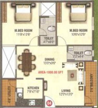 AR Manjunatha Residency (2BHK+2T (1,008 sq ft) Apartment 1008 sq ft)