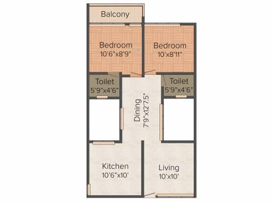 Vishram Oasis (2BHK+2T (833 sq ft) Apartment 833 sq ft)