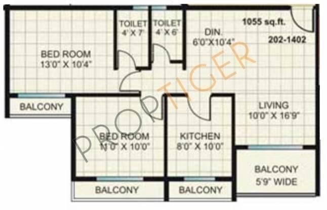 Kesar Gardens (2BHK+2T (1,055 sq ft) Apartment 1055 sq ft)