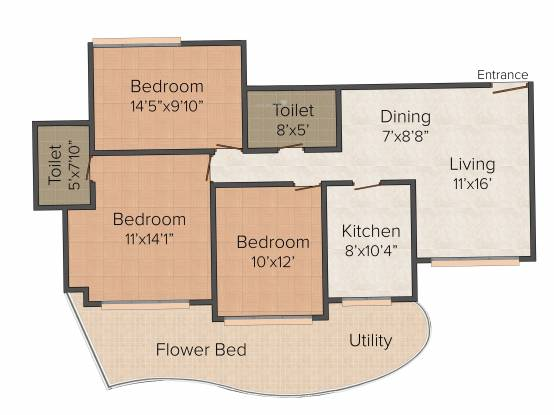 Nahar 8 Towers (3BHK+3T (1,430 sq ft) + Servant Room Apartment 1430 sq ft)