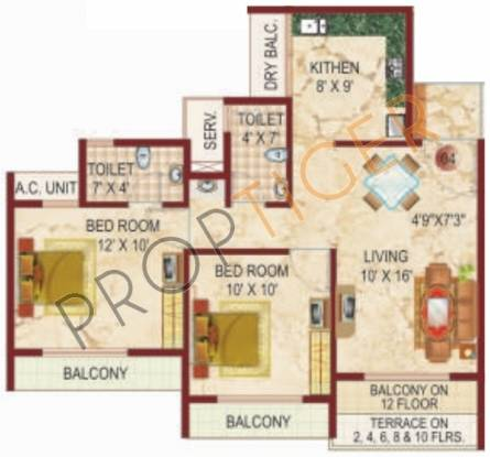 Lakhani White Castle (2BHK+2T (1,130 sq ft) Apartment 1130 sq ft)