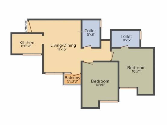 Jaypee Kosmos (2BHK+2T (850 sq ft) Apartment 850 sq ft)