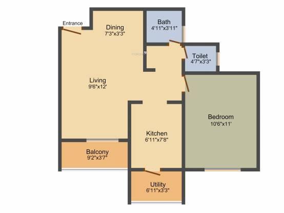 TATA Ariana (1BHK+1T (657 sq ft) Apartment 657 sq ft)