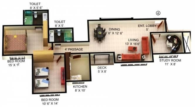Mahindra Splendour (2BHK+2T (1,486 sq ft)   Study Room Apartment 1486 sq ft)