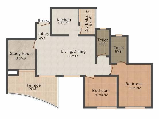 Gemini Grand Bay (2BHK+2T (1,185 sq ft) Apartment 1185 sq ft)