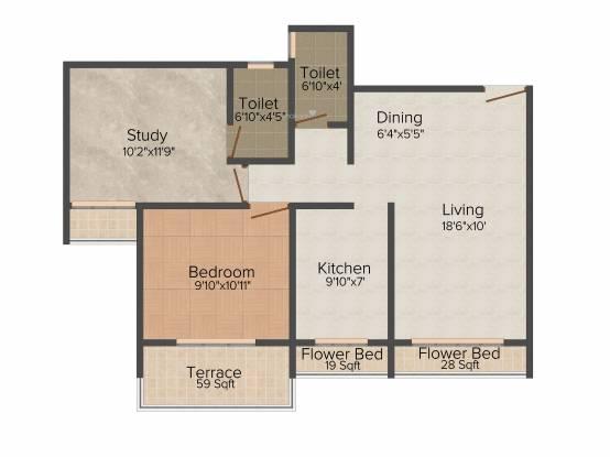 Neelsidhi Joya (2BHK+2T (1,100 sq ft) Apartment 1100 sq ft)