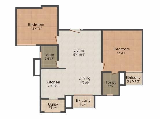 Vahe Imperial Gardens (2BHK+2T (1,100 sq ft) Apartment 1100 sq ft)