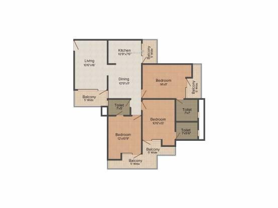 Keltech Golf Vista (3BHK+3T (1,725 sq ft) Apartment 1725 sq ft)