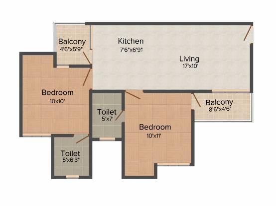 Shubhkamna City (2BHK+2T (880 sq ft) Apartment 880 sq ft)