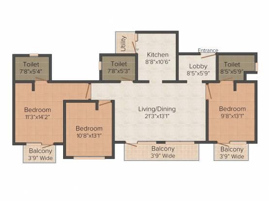 ATS One Hamlet (3BHK+3T (1,759 sq ft) Apartment 1759 sq ft)