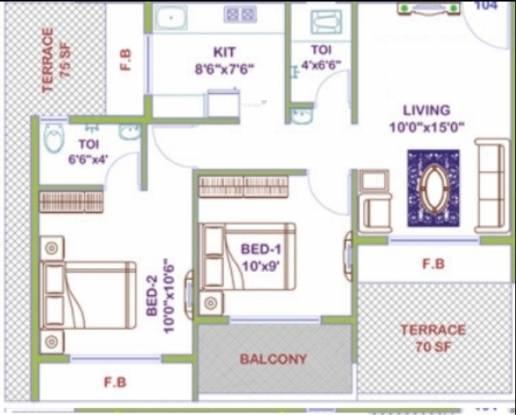 Platinum Regalo (2BHK+2T (1,040 sq ft) Apartment 1040 sq ft)