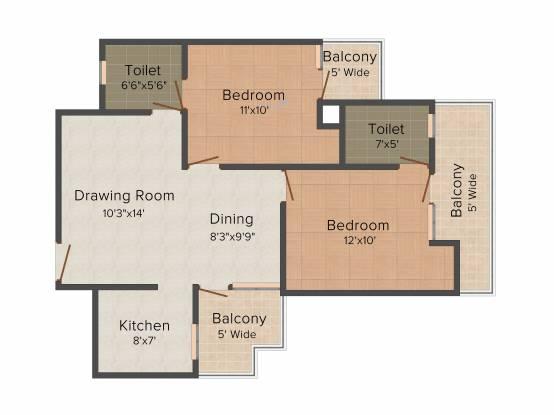 Nandini Metro Suites (2BHK+2T (1,125 sq ft) Apartment 1125 sq ft)