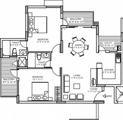 Chartered Beverly Hills (2BHK+2T (1,308 sq ft) Apartment 1308 sq ft)