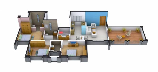 GK Royale Rahadki Greens (3BHK+3T (1,489 sq ft) Apartment 1489 sq ft)