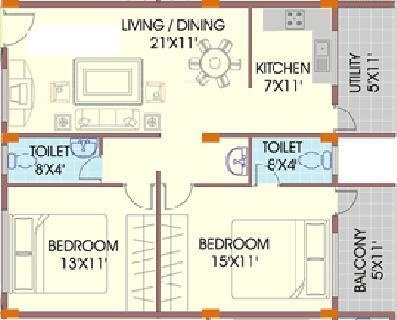 Mahaveer Marvel (2BHK+2T (1,125 sq ft) Apartment 1125 sq ft)