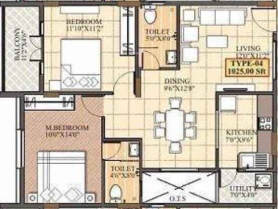 Shirdi Iris (2BHK+2T (1,025 sq ft) Apartment 1025 sq ft)