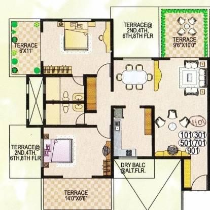 Dorabjee Paradise (2BHK+2T (1,264 sq ft) Apartment 1264 sq ft)