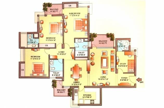 Orchid Petals (3BHK+4T (2,061 sq ft)   Study Room Apartment 2061 sq ft)